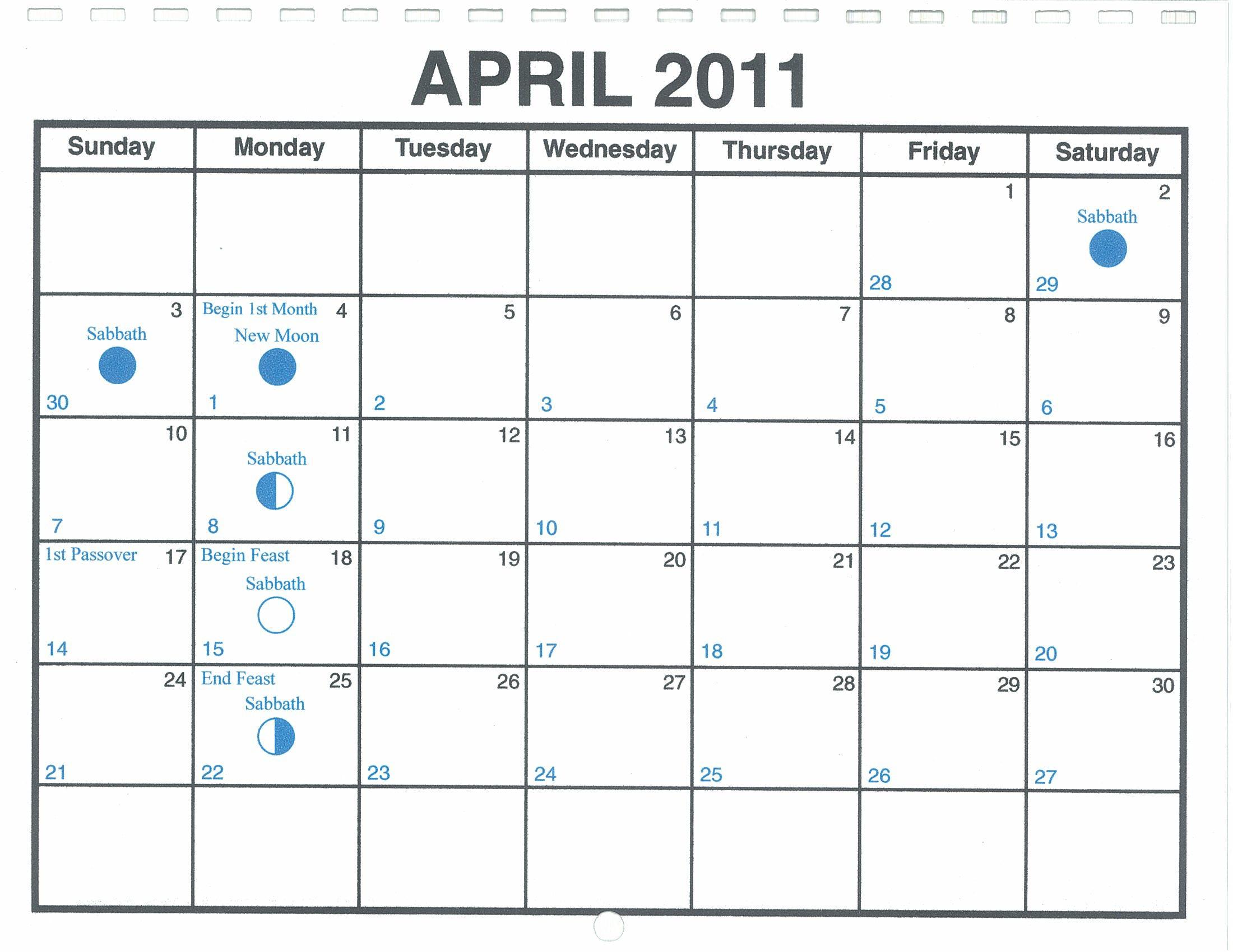 Calendar April 2011 : April lunar calendar — one yahweh