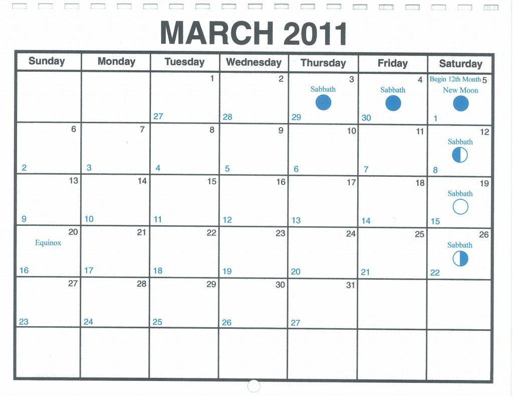 March 2011 Lunar Calendar  U2014 One Yahweh