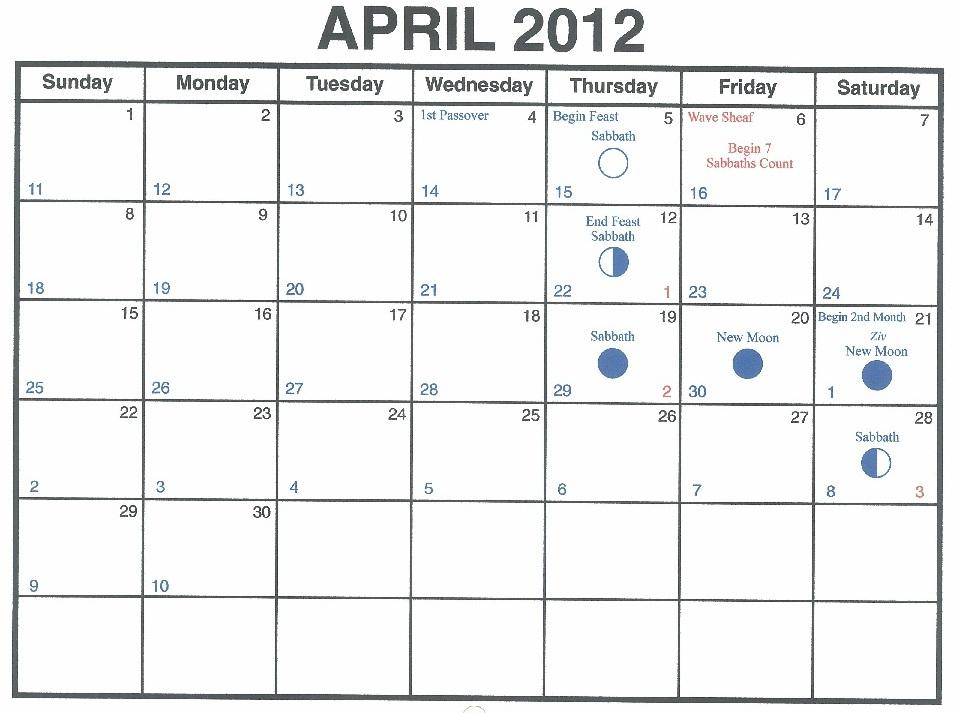 Kalender April 2012