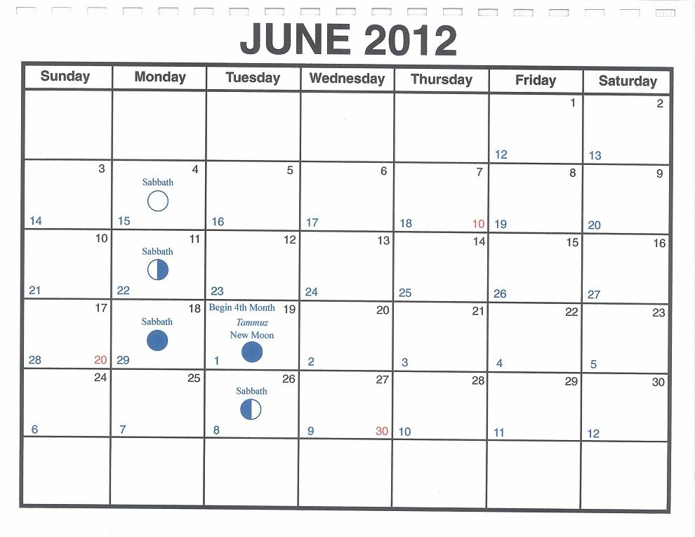 June 2012 Lunar Calendar