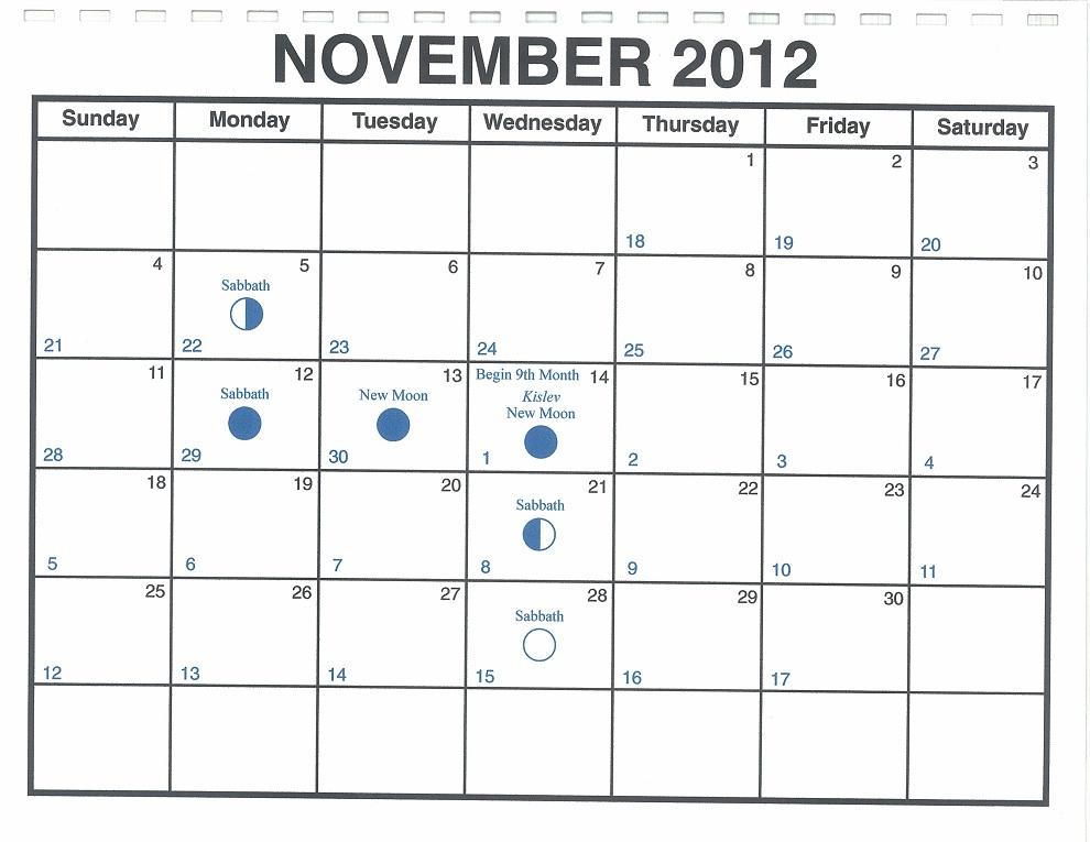 November Calendar 2012 : November lunar calendar — one yahweh